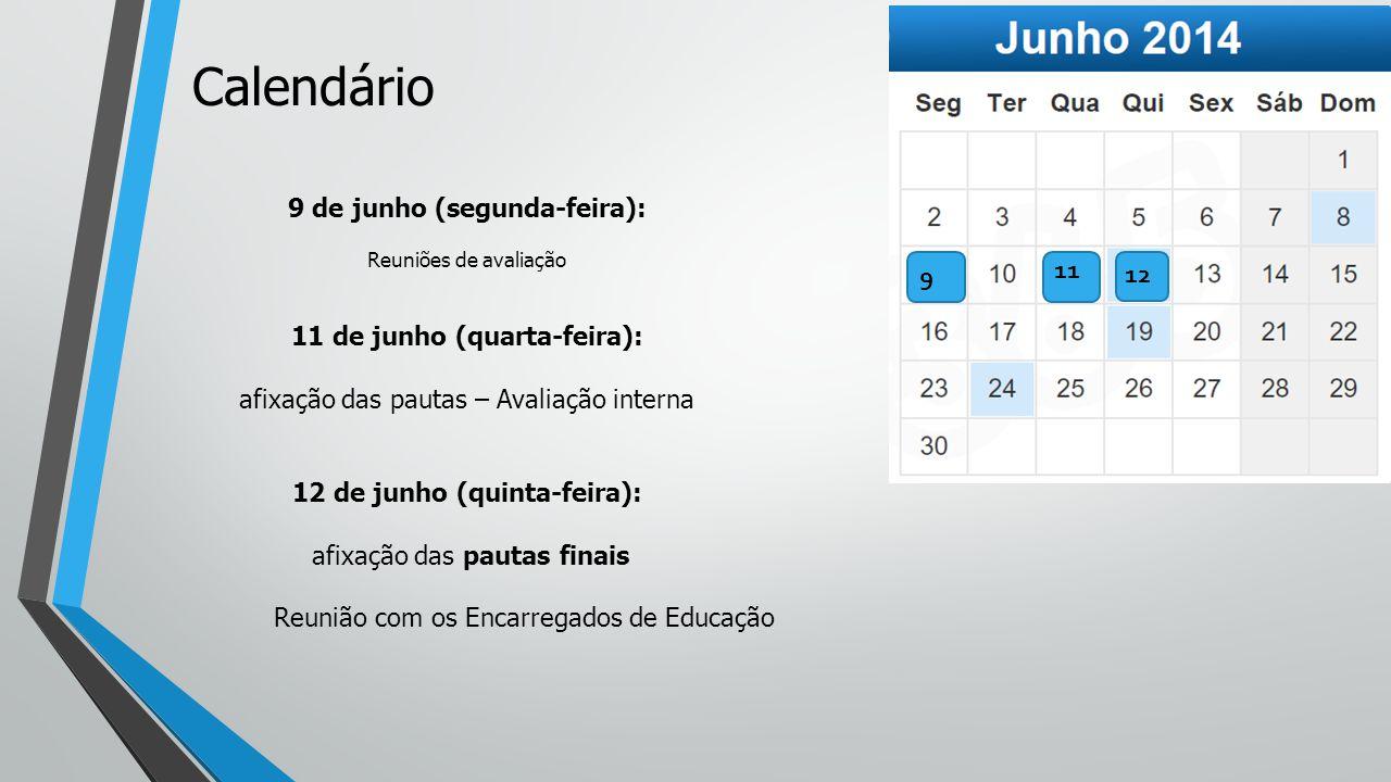 9 de junho (segunda-feira): Reuniões de avaliação 11 de junho (quarta-feira): afixação das pautas – Avaliação interna 12 de junho (quinta-feira): afixação das pautas finais Reunião com os Encarregados de Educação 12 Calendário 11 9