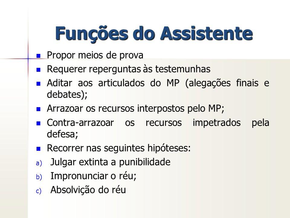 Funções do Assistente Propor meios de prova Requerer reperguntas às testemunhas Aditar aos articulados do MP (alegações finais e debates); Arrazoar os