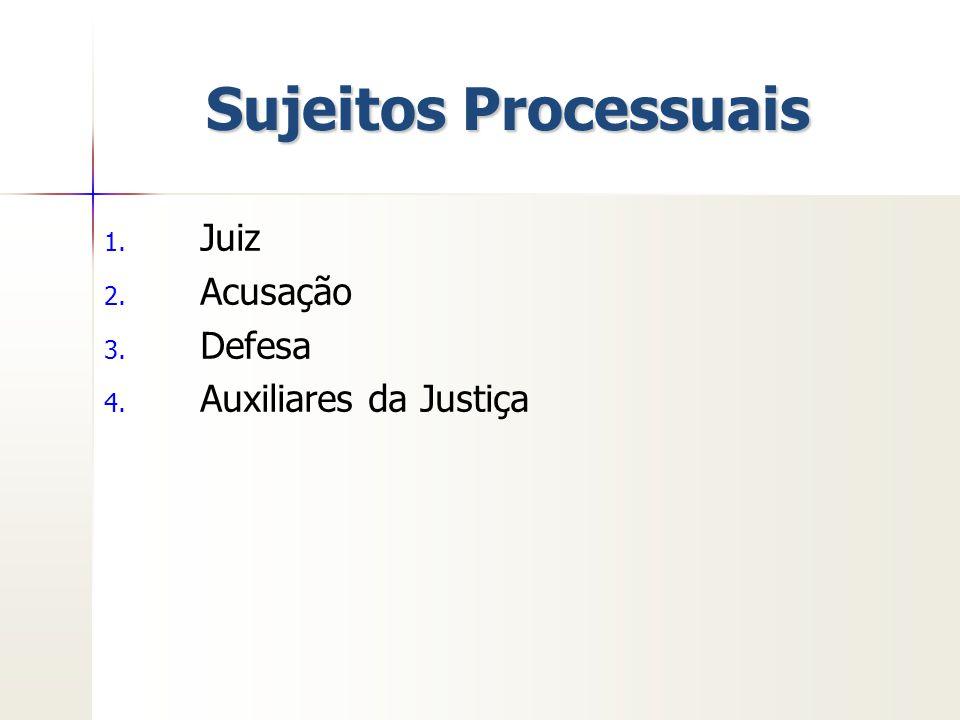 Sujeitos Processuais 1. 1. Juiz 2. 2. Acusação 3. 3. Defesa 4. 4. Auxiliares da Justiça