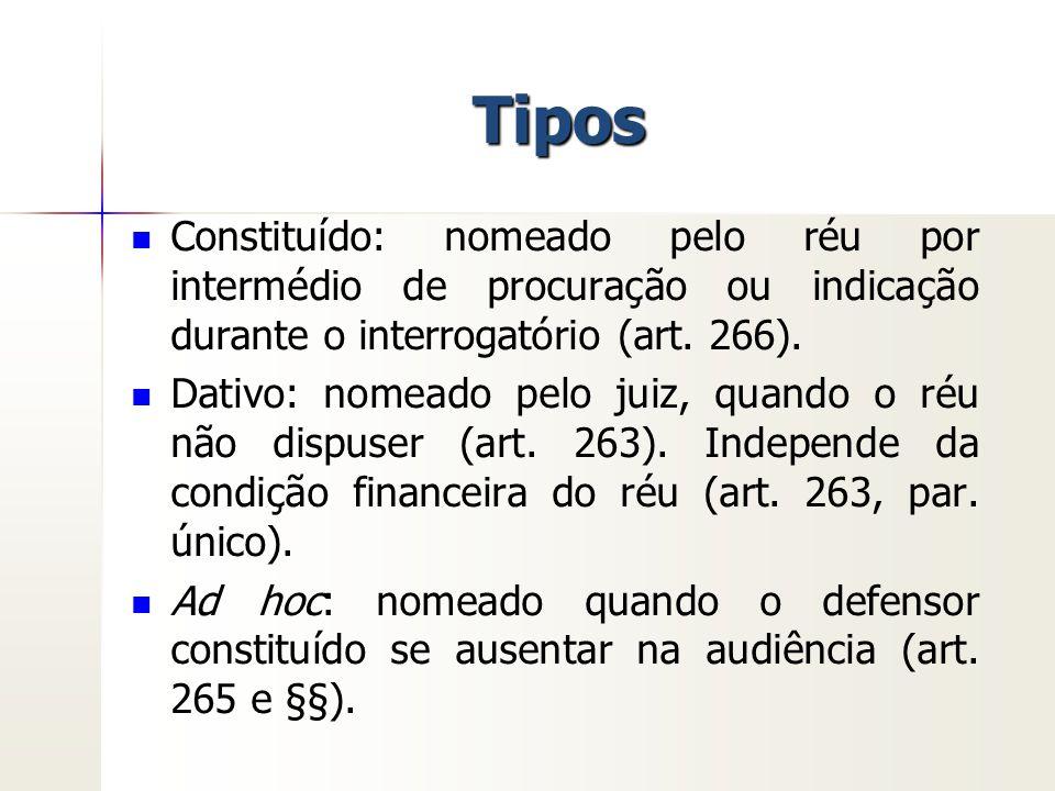 Tipos Constituído: nomeado pelo réu por intermédio de procuração ou indicação durante o interrogatório (art. 266). Dativo: nomeado pelo juiz, quando o