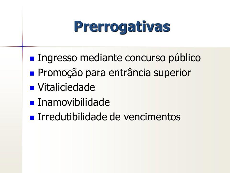 Prerrogativas Ingresso mediante concurso público Promoção para entrância superior Vitaliciedade Inamovibilidade Irredutibilidade de vencimentos