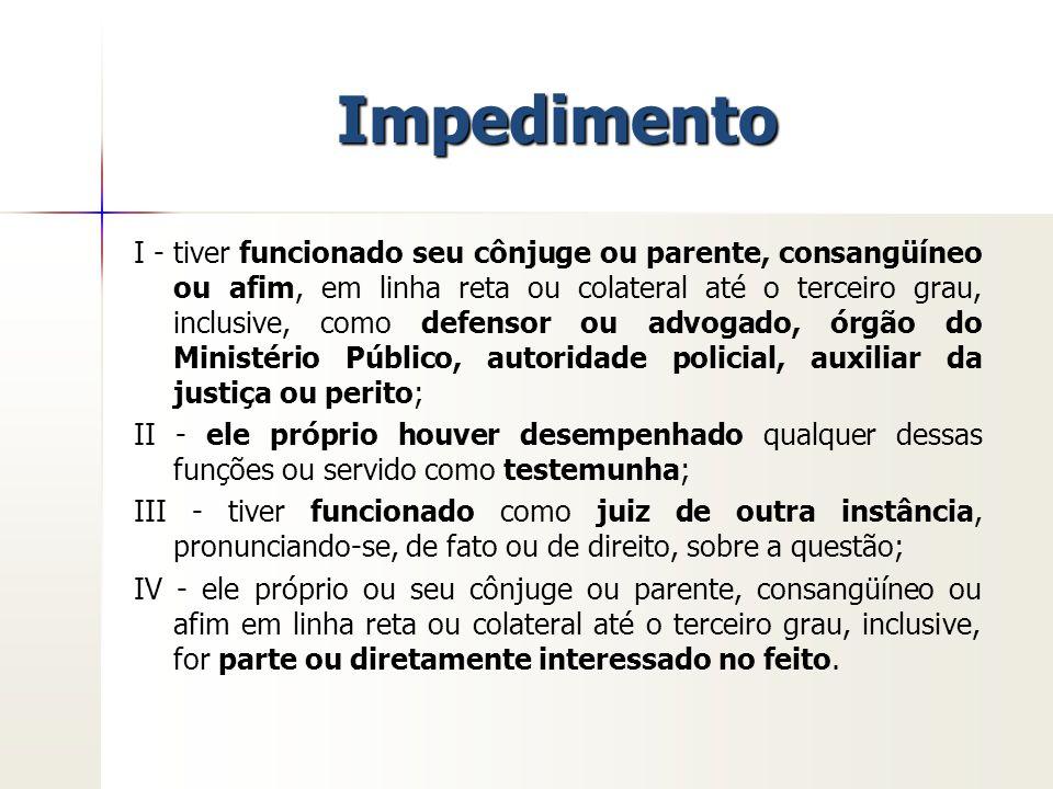 Incompatibilidade Decorre do parentesco entre juízes em órgãos colegiados a) a) Tribunais (art.