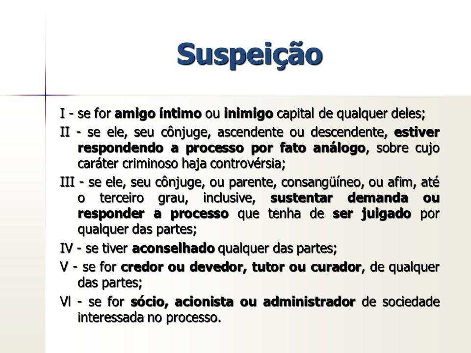Suspeição I - se for amigo íntimo ou inimigo capital de qualquer deles; II - se ele, seu cônjuge, ascendente ou descendente, estiver respondendo a pro