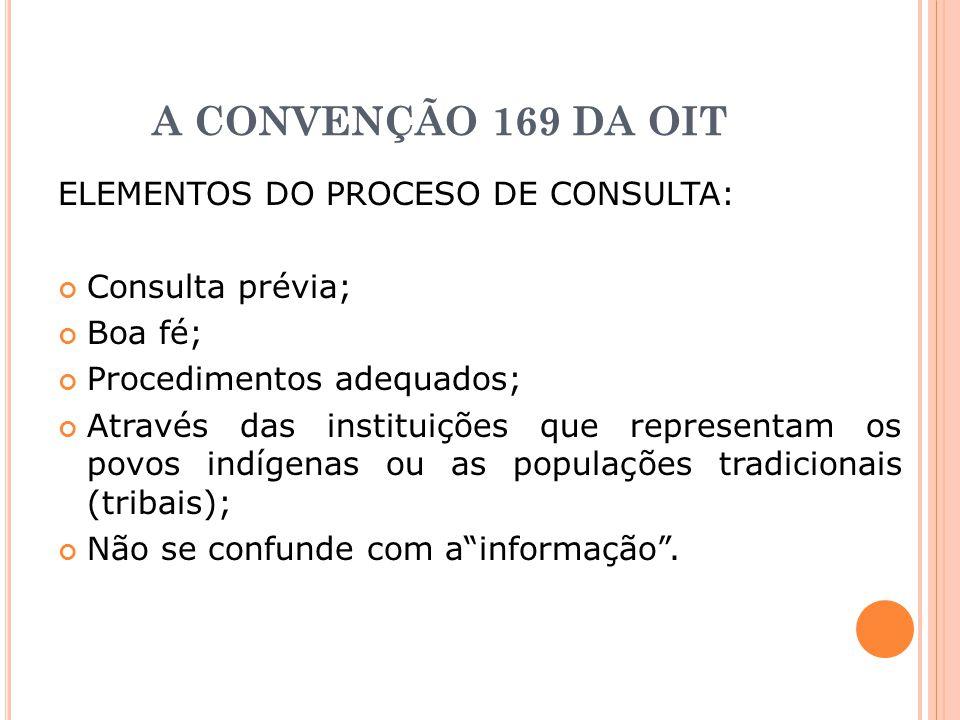 A CONVENÇÃO 169 DA OIT ELEMENTOS DO PROCESO DE CONSULTA: Consulta prévia; Boa fé; Procedimentos adequados; Através das instituições que representam os