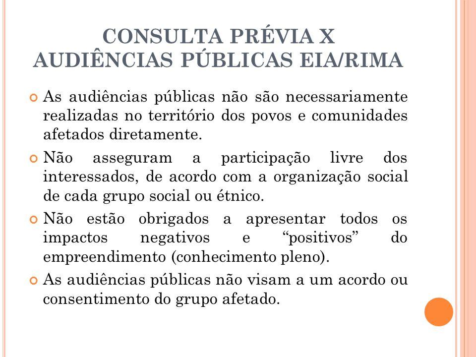 CONSULTA PRÉVIA X AUDIÊNCIAS PÚBLICAS EIA/RIMA As audiências públicas não são necessariamente realizadas no território dos povos e comunidades afetado