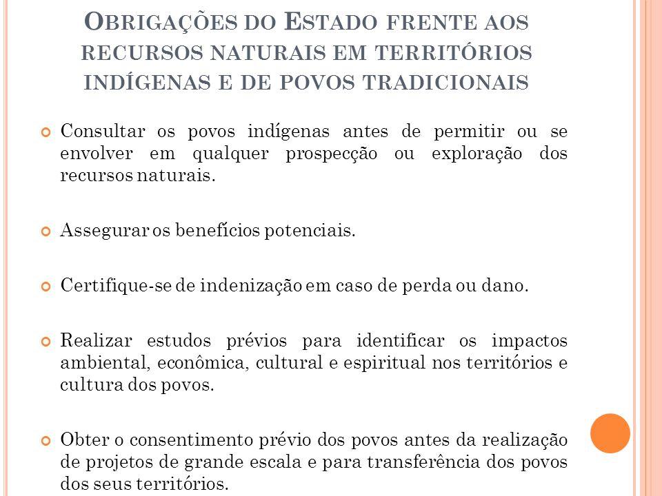 O BRIGAÇÕES DO E STADO FRENTE AOS RECURSOS NATURAIS EM TERRITÓRIOS INDÍGENAS E DE POVOS TRADICIONAIS Consultar os povos indígenas antes de permitir ou