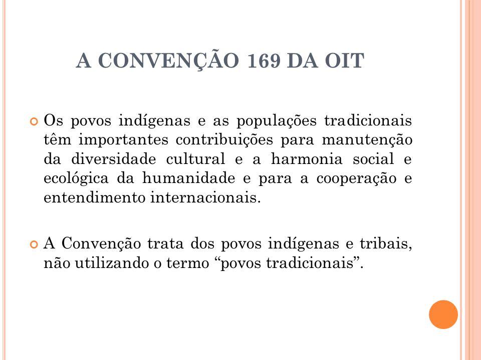 A CONVENÇÃO 169 DA OIT Os povos indígenas e as populações tradicionais têm importantes contribuições para manutenção da diversidade cultural e a harmo