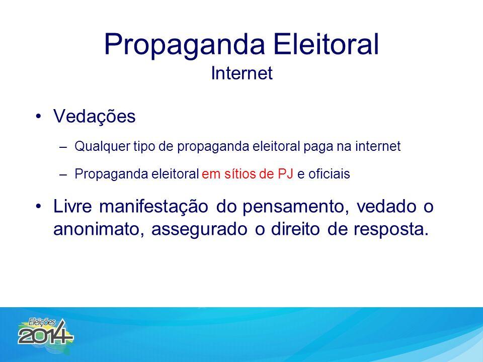 Vedações –Qualquer tipo de propaganda eleitoral paga na internet –Propaganda eleitoral em sítios de PJ e oficiais Livre manifestação do pensamento, vedado o anonimato, assegurado o direito de resposta.