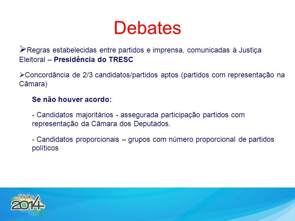  Regras estabelecidas entre partidos e imprensa, comunicadas à Justiça Eleitoral – Presidência do TRESC  Concordância de 2/3 candidatos/partidos apt
