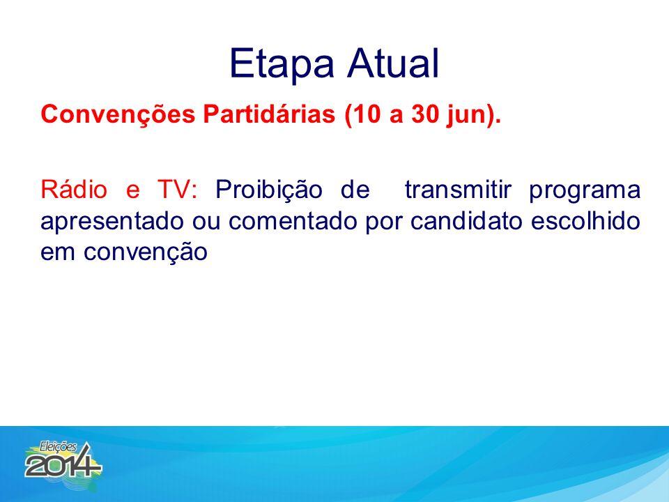 Etapa Atual Convenções Partidárias (10 a 30 jun). Rádio e TV: Proibição de transmitir programa apresentado ou comentado por candidato escolhido em con
