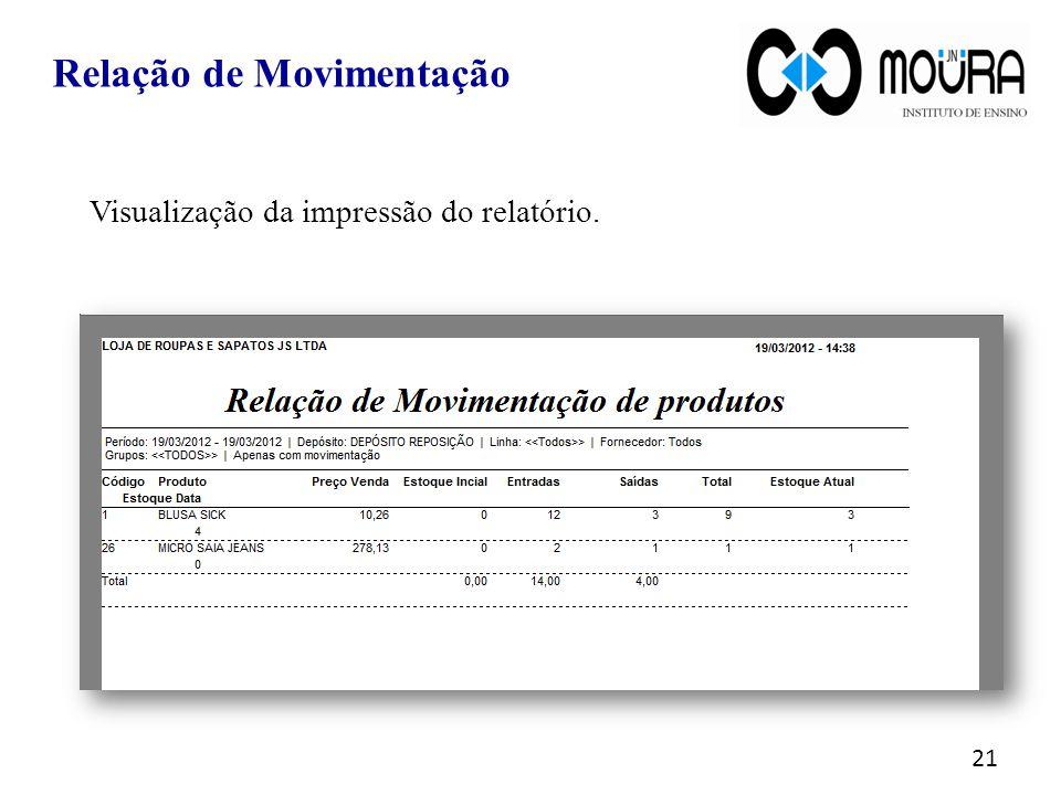 Visualização da impressão do relatório. 21 Relação de Movimentação