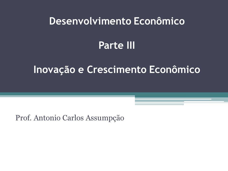 Desenvolvimento Econômico Parte III Inovação e Crescimento Econômico Prof. Antonio Carlos Assumpção