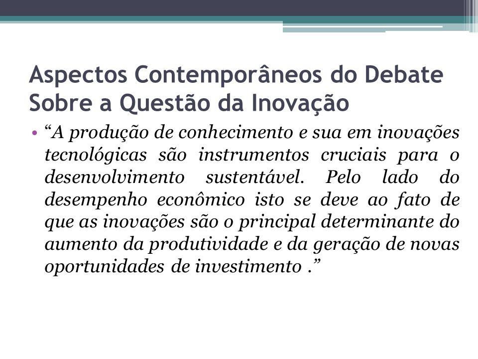 Aspectos Contemporâneos do Debate Sobre a Questão da Inovação A produção de conhecimento e sua em inovações tecnológicas são instrumentos cruciais para o desenvolvimento sustentável.