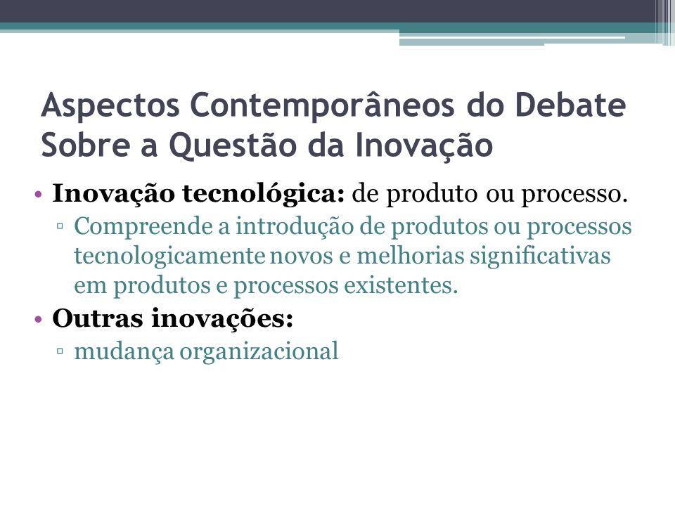 Aspectos Contemporâneos do Debate Sobre a Questão da Inovação Inovação tecnológica: de produto ou processo.