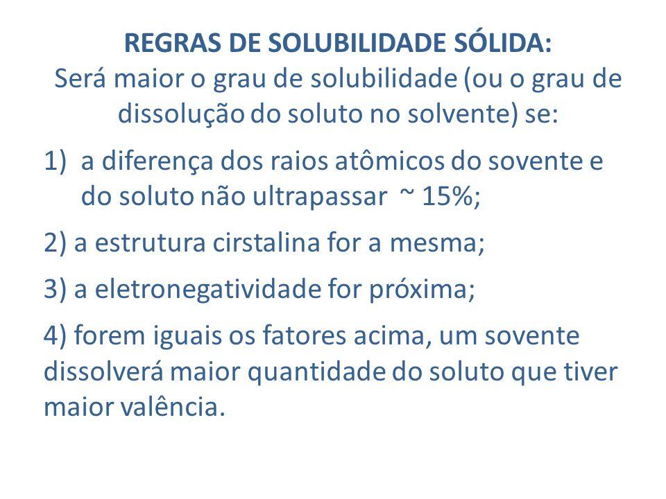 REGRAS DE SOLUBILIDADE SÓLIDA: Será maior o grau de solubilidade (ou o grau de dissolução do soluto no solvente) se: 1)a diferença dos raios atômicos do sovente e do soluto não ultrapassar ~ 15%; 2) a estrutura cirstalina for a mesma; 3) a eletronegatividade for próxima; 4) forem iguais os fatores acima, um sovente dissolverá maior quantidade do soluto que tiver maior valência.