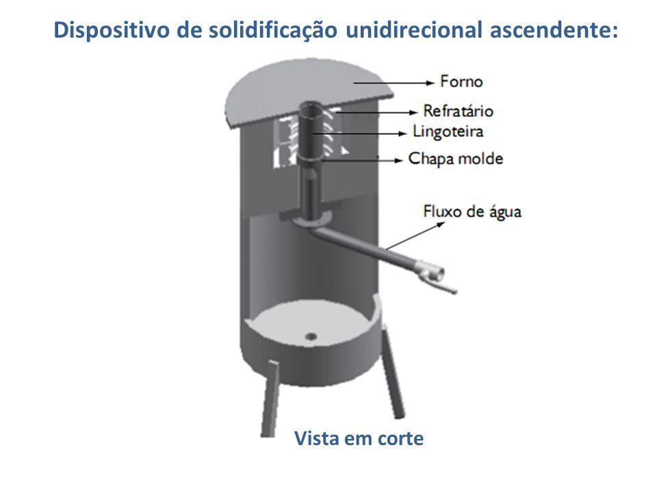 Dispositivo de solidificação unidirecional ascendente: Vista em corte