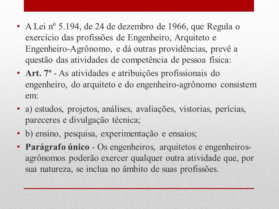 A Lei nº 5.194, de 24 de dezembro de 1966, que Regula o exercício das profissões de Engenheiro, Arquiteto e Engenheiro-Agrônomo, e dá outras providênc