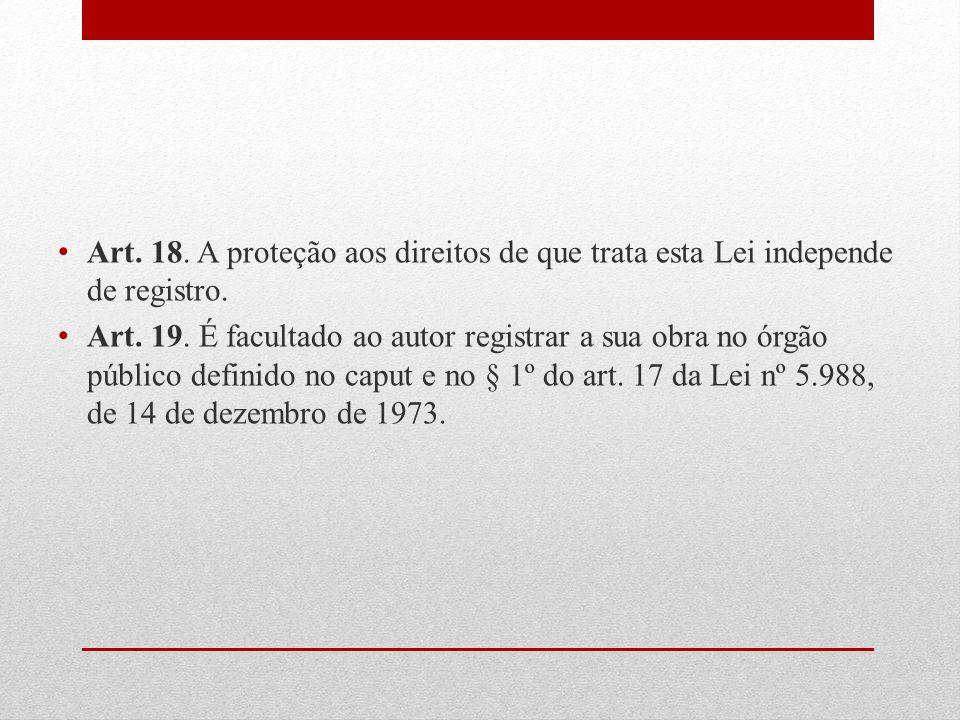 Art. 18. A proteção aos direitos de que trata esta Lei independe de registro. Art. 19. É facultado ao autor registrar a sua obra no órgão público defi