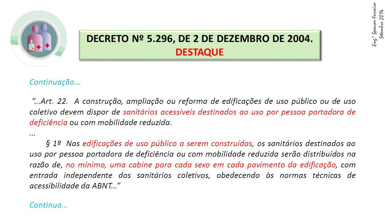 """Continuação... """"...Art. 22. A construção, ampliação ou reforma de edificações de uso público ou de uso coletivo devem dispor de sanitários acessíveis"""