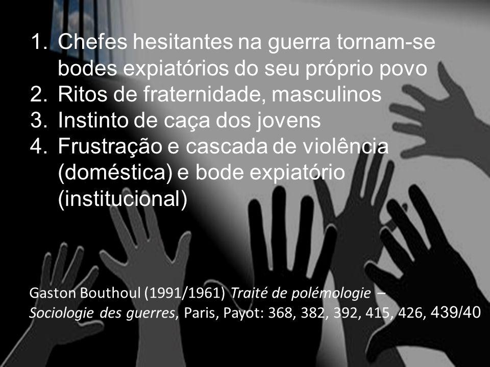 1.Chefes hesitantes na guerra tornam-se bodes expiatórios do seu próprio povo 2.Ritos de fraternidade, masculinos 3.Instinto de caça dos jovens 4.Frustração e cascada de violência (doméstica) e bode expiatório (institucional) Gaston Bouthoul (1991/1961) Traité de polémologie – Sociologie des guerres, Paris, Payot: 368, 382, 392, 415, 426, 439/40 :