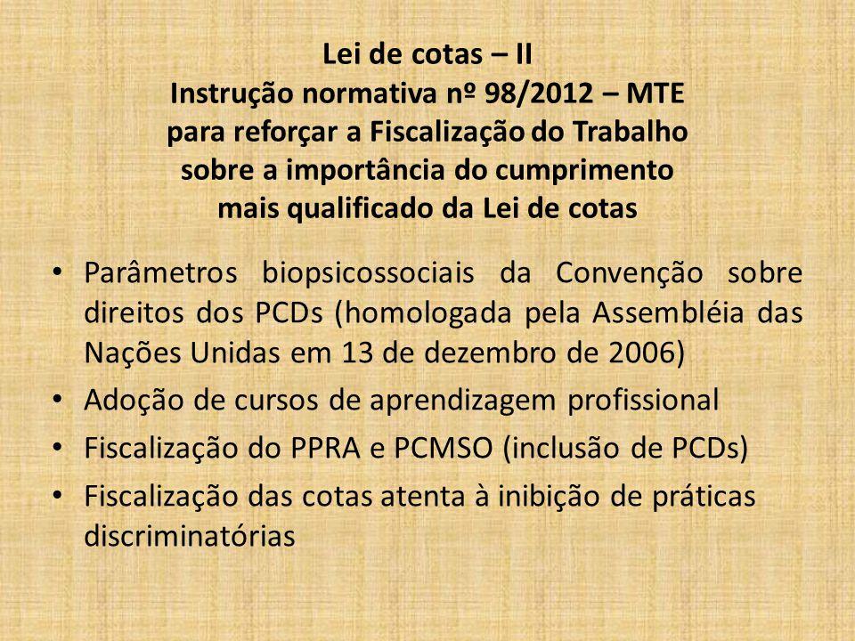 Lei de cotas – II Instrução normativa nº 98/2012 – MTE para reforçar a Fiscalização do Trabalho sobre a importância do cumprimento mais qualificado da Lei de cotas Parâmetros biopsicossociais da Convenção sobre direitos dos PCDs (homologada pela Assembléia das Nações Unidas em 13 de dezembro de 2006) Adoção de cursos de aprendizagem profissional Fiscalização do PPRA e PCMSO (inclusão de PCDs) Fiscalização das cotas atenta à inibição de práticas discriminatórias