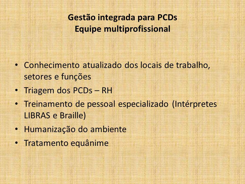 Gestão integrada para PCDs Equipe multiprofissional Conhecimento atualizado dos locais de trabalho, setores e funções Triagem dos PCDs – RH Treinamento de pessoal especializado (Intérpretes LIBRAS e Braille) Humanização do ambiente Tratamento equânime