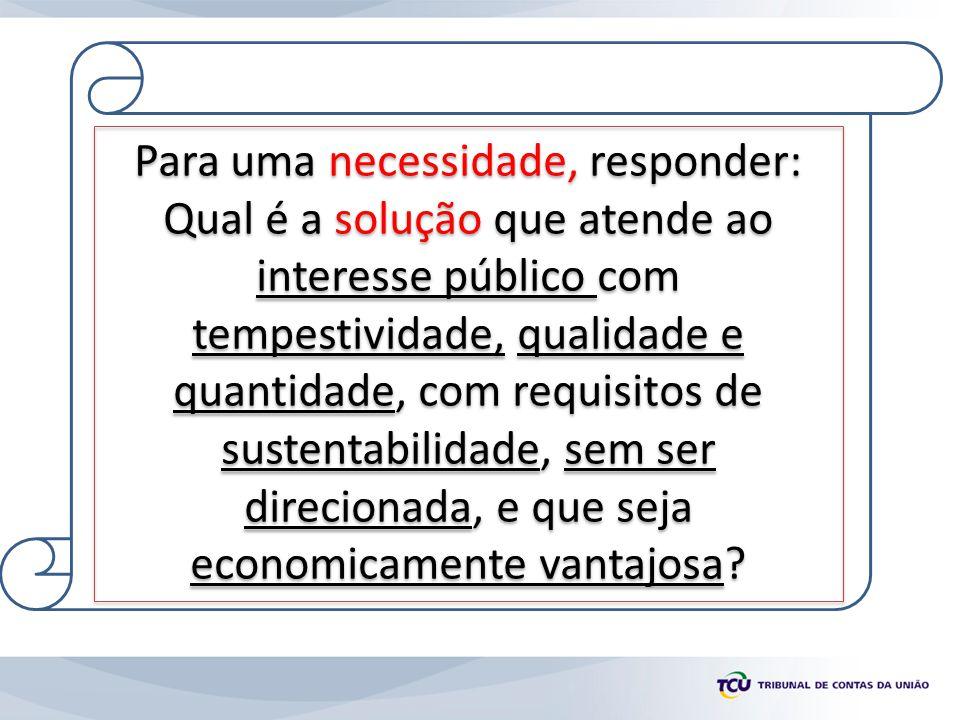 Para uma necessidade, responder: Qual é a solução que atende ao interesse público com tempestividade, qualidade e quantidade, com requisitos de susten