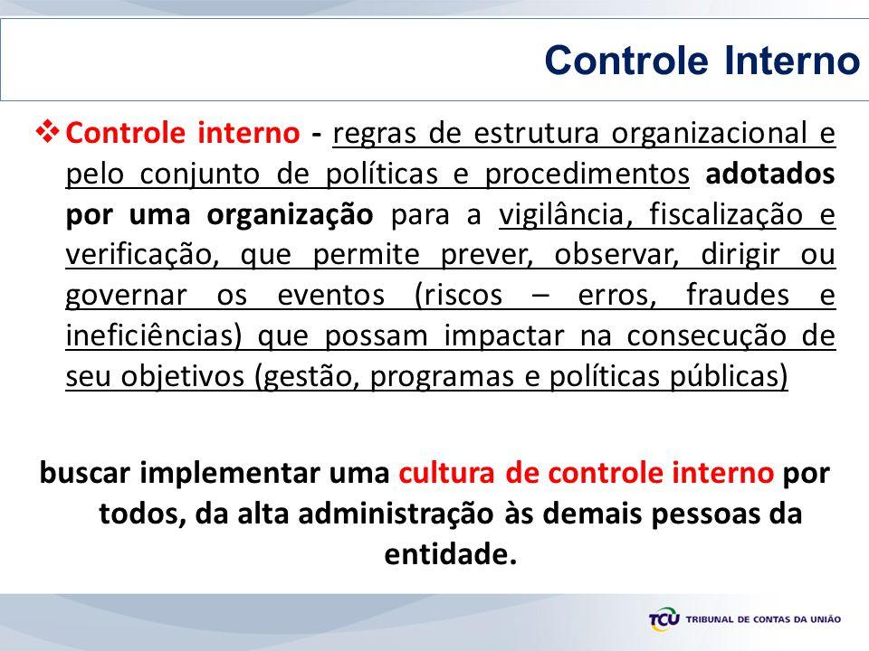  Controle interno - regras de estrutura organizacional e pelo conjunto de políticas e procedimentos adotados por uma organização para a vigilância, f