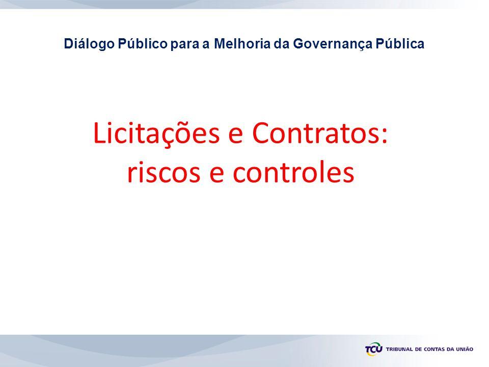 Licitações e Contratos: riscos e controles Diálogo Público para a Melhoria da Governança Pública