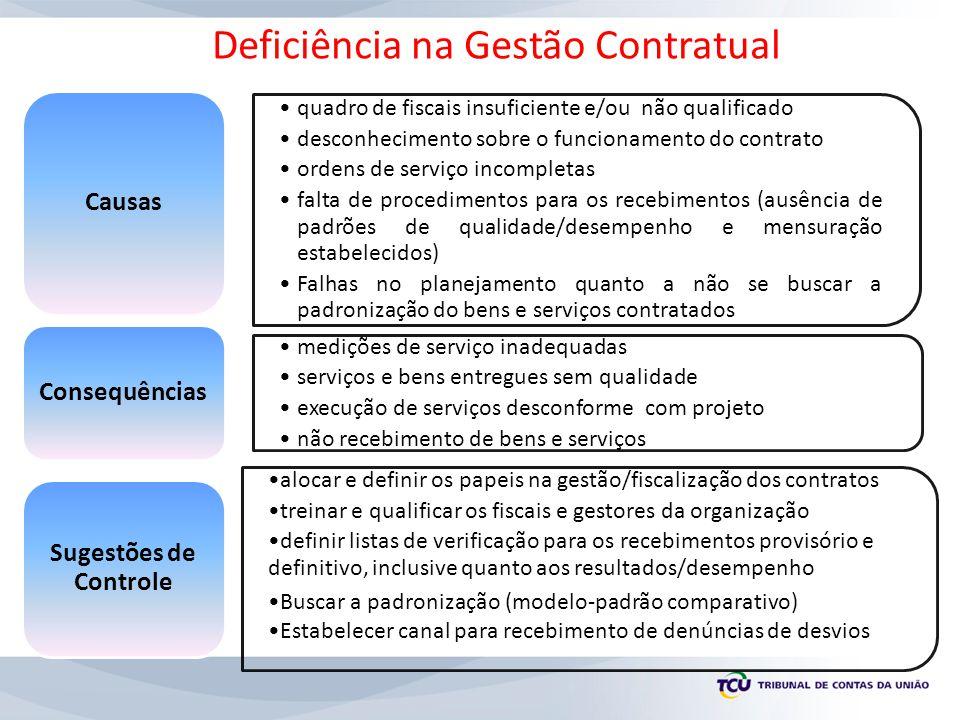 quadro de fiscais insuficiente e/ou não qualificado desconhecimento sobre o funcionamento do contrato ordens de serviço incompletas falta de procedime