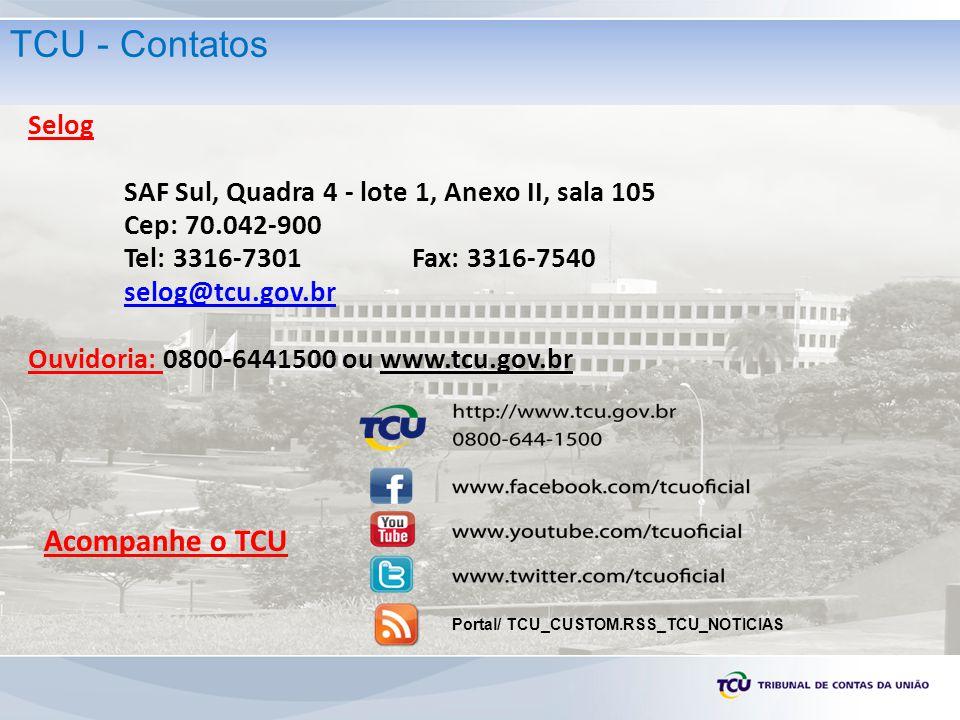 Selog SAF Sul, Quadra 4 - lote 1, Anexo II, sala 105 Cep: 70.042-900 Tel: 3316-7301 Fax: 3316-7540 selog@tcu.gov.br Ouvidoria: 0800-6441500 ou www.tcu