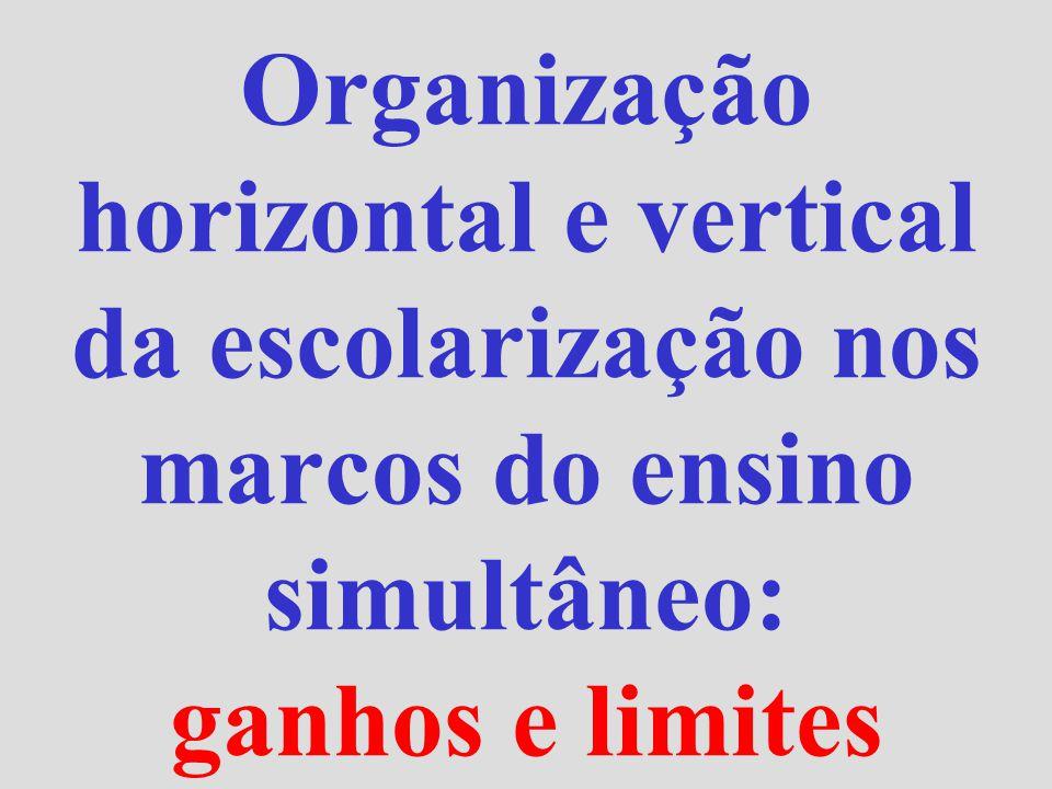 Organização horizontal e vertical da escolarização nos marcos do ensino simultâneo: ganhos e limites