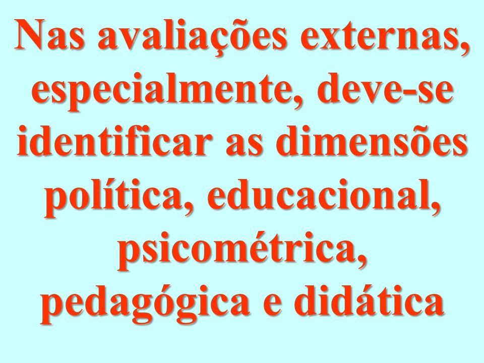 Nas avaliações externas, especialmente, deve-se identificar as dimensões política, educacional, psicométrica, pedagógica e didática