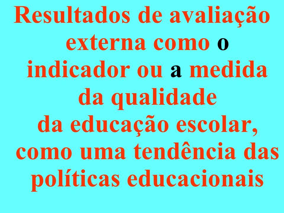 Resultados de avaliação externa como o indicador ou a medida da qualidade da educação escolar, como uma tendência das políticas educacionais