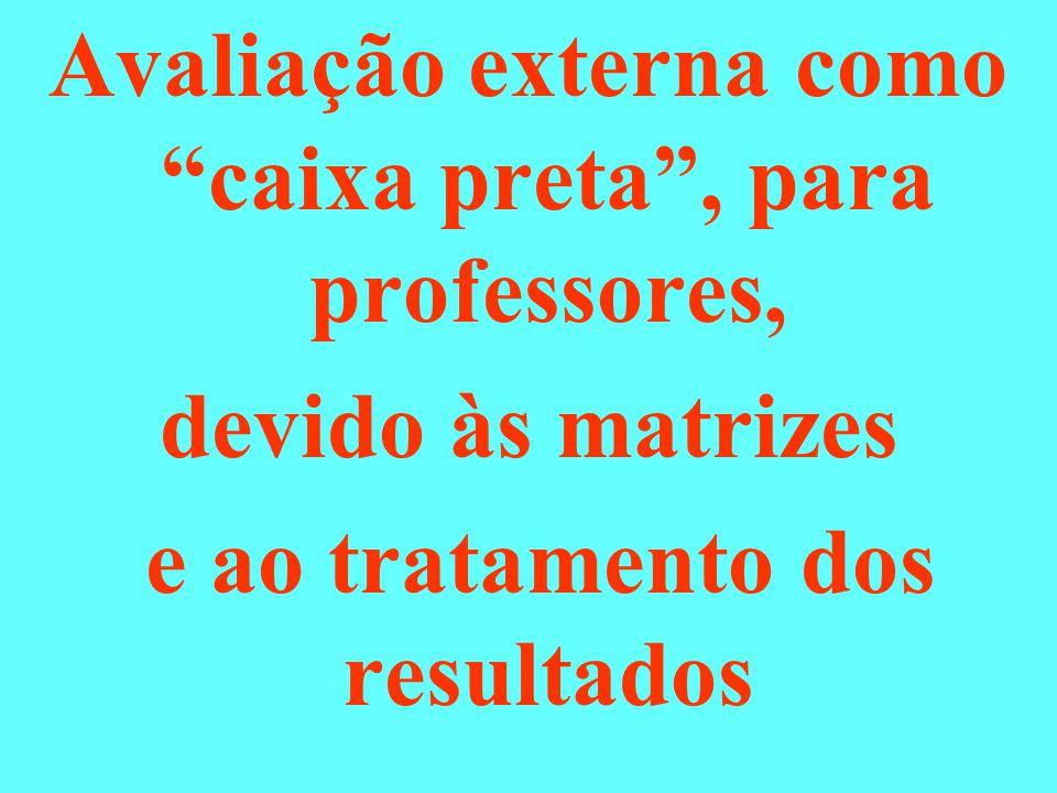 """Avaliação externa como """"caixa preta"""", para professores, devido às matrizes e ao tratamento dos resultados"""