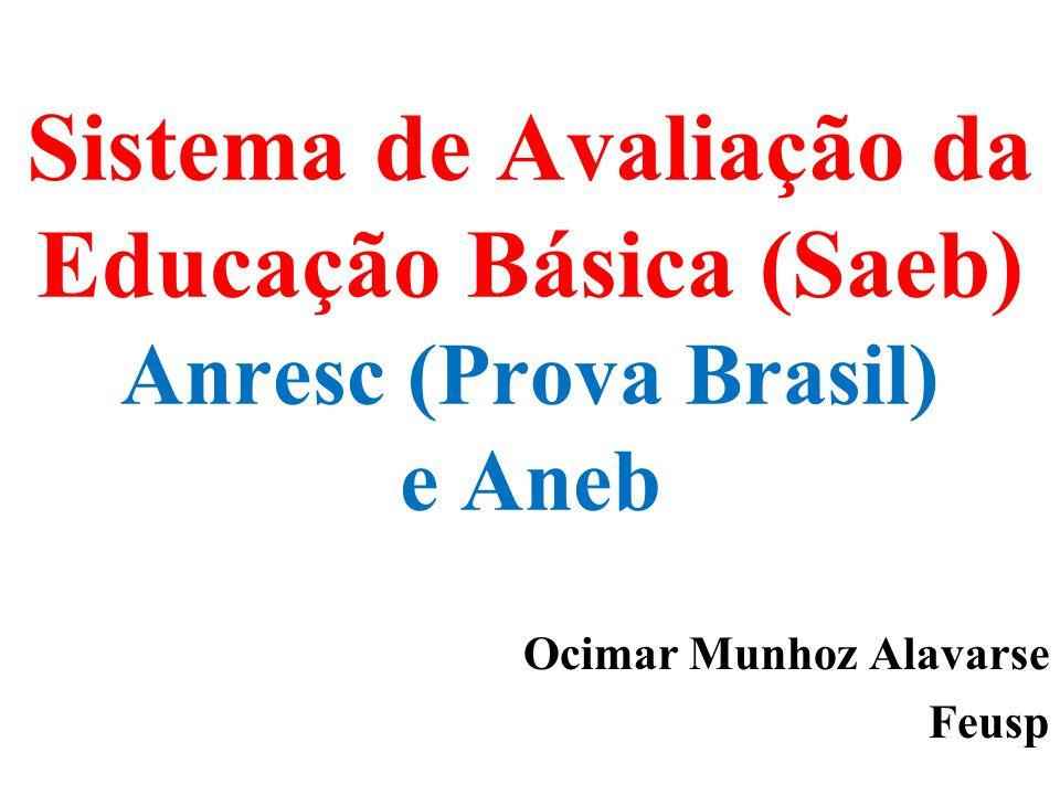 Sistema de Avaliação da Educação Básica (Saeb) Anresc (Prova Brasil) e Aneb Ocimar Munhoz Alavarse Feusp