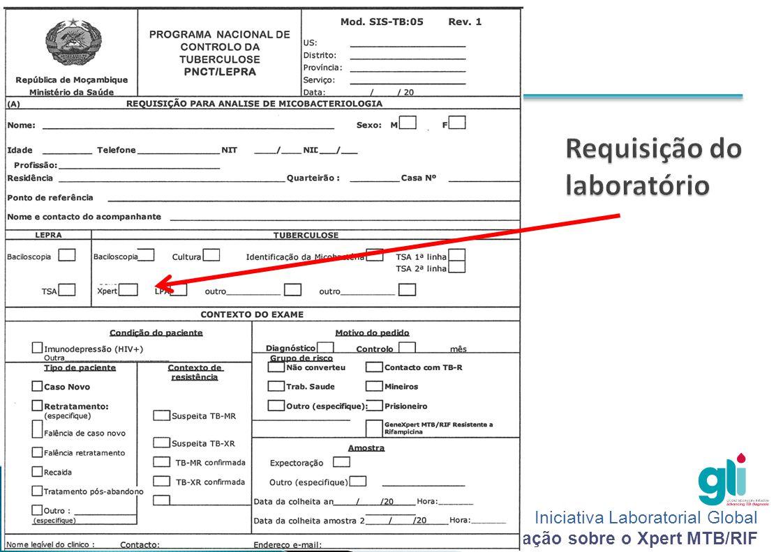 Iniciativa Laboratorial Global Pacote de formação sobre o Xpert MTB/RIF -6--6-  Nome da unidade sanitária  Data do pedido  Informações do paciente (nome, sexo, idade, morada, profissão e contacto, número de registo do paciente ou caso suspeito)  Número de amostra e tipo de amostra enviado para teste  Data da colheita da(s) amostra(s)  Motivo de exame (caso novo, controle ou retratamento)  Assinatura da pessoa requerente do exame