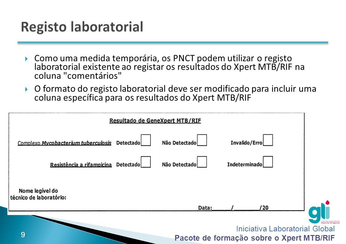 Iniciativa Laboratorial Global Pacote de formação sobre o Xpert MTB/RIF -9--9-  Como uma medida temporária, os PNCT podem utilizar o registo laborato