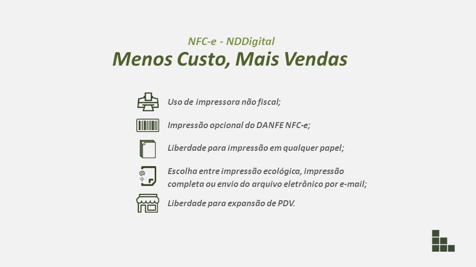 Uso de impressora não fiscal; Impressão opcional do DANFE NFC-e; Liberdade para impressão em qualquer papel; Escolha entre impressão ecológica, impres