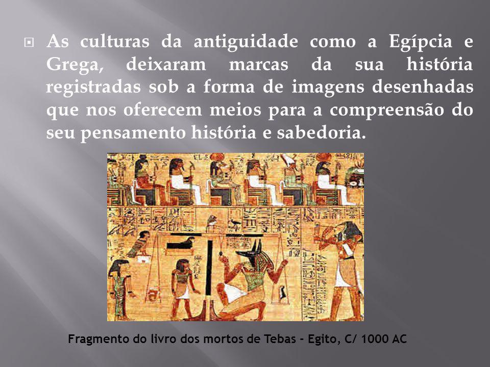  As culturas da antiguidade como a Egípcia e Grega, deixaram marcas da sua história registradas sob a forma de imagens desenhadas que nos oferecem meios para a compreensão do seu pensamento história e sabedoria.
