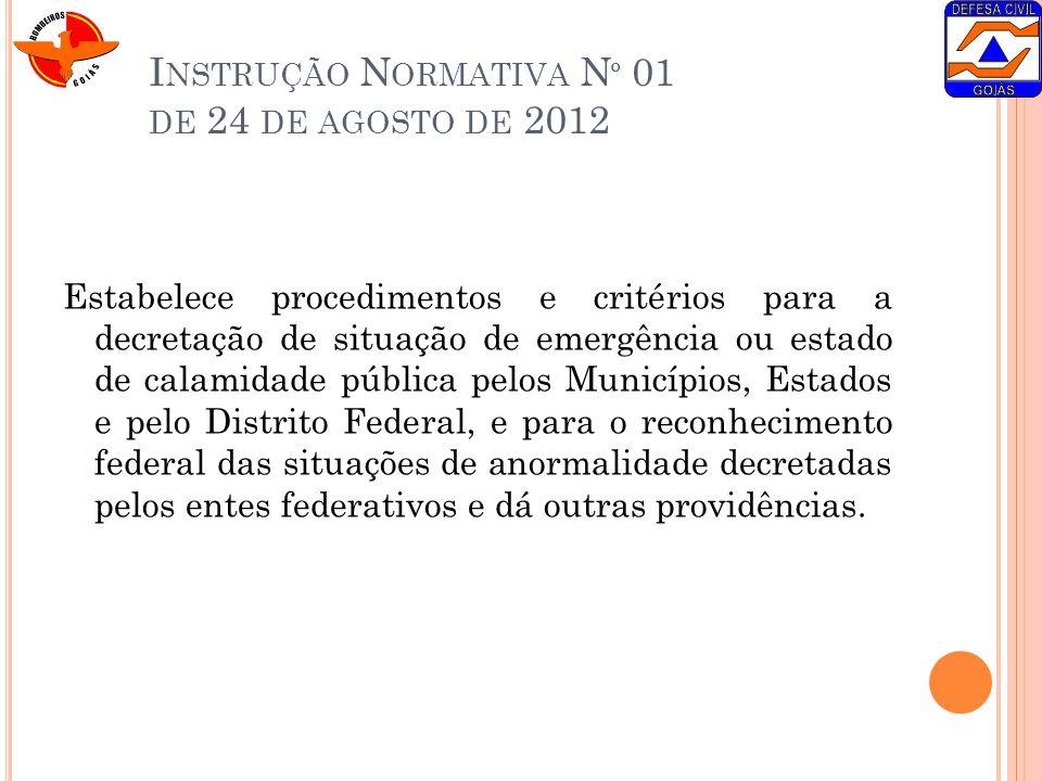 I NSTRUÇÃO N ORMATIVA N º 01 DE 24 DE AGOSTO DE 2012 Estabelece procedimentos e critérios para a decretação de situação de emergência ou estado de cal