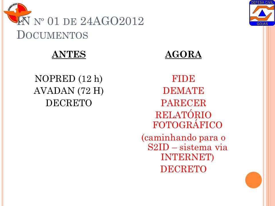 IN Nº 01 DE 24AGO2012 D OCUMENTOS ANTES NOPRED (12 h) AVADAN (72 H) DECRETO AGORA FIDE DEMATE PARECER RELATÓRIO FOTOGRÁFICO (caminhando para o S2ID –