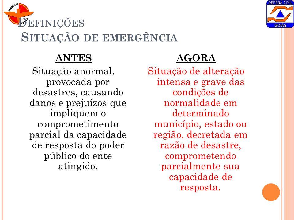 D EFINIÇÕES S ITUAÇÃO DE EMERGÊNCIA ANTES Situação anormal, provocada por desastres, causando danos e prejuízos que impliquem o comprometimento parcia