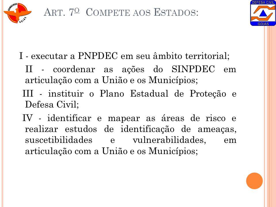 A RT. 7 O C OMPETE AOS E STADOS : I - executar a PNPDEC em seu âmbito territorial; II - coordenar as ações do SINPDEC em articulação com a União e os