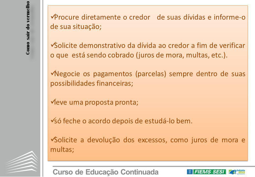 Procure diretamente o credor de suas dívidas e informe-o de sua situação; Solicite demonstrativo da dívida ao credor a fim de verificar o que está sen