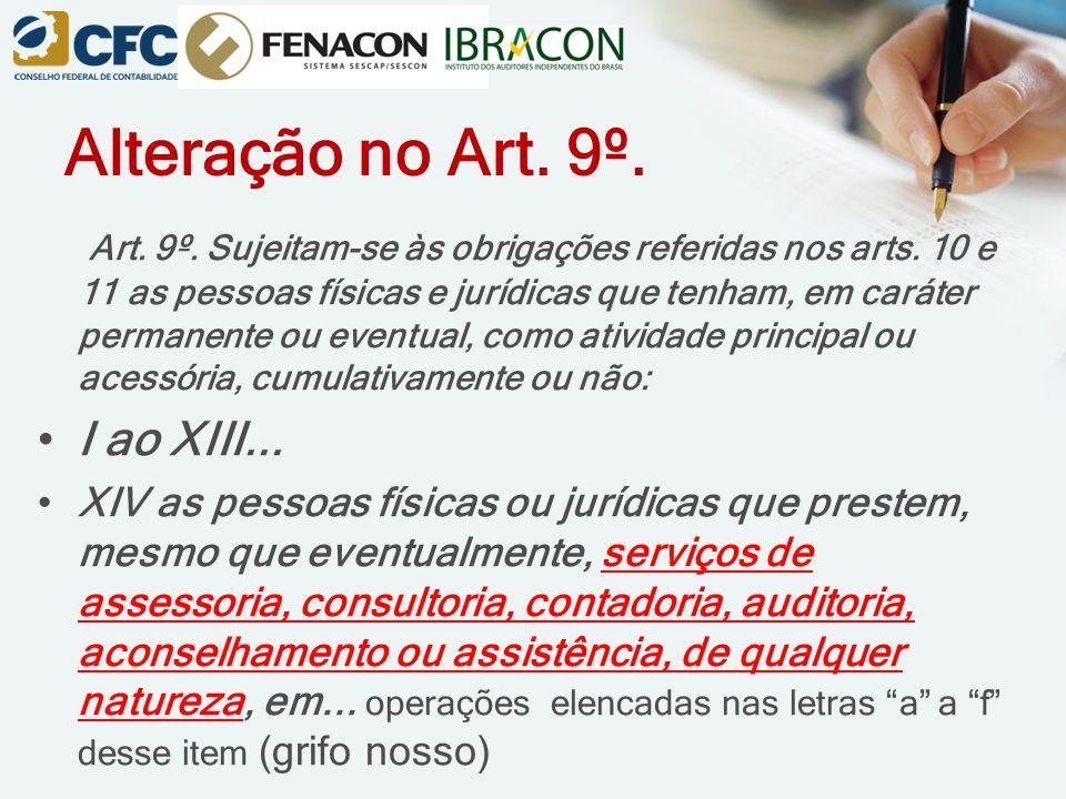 Alteração no Art. 9º. Art. 9º. Sujeitam-se às obrigações referidas nos arts. 10 e 11 as pessoas físicas e jurídicas que tenham, em caráter permanente