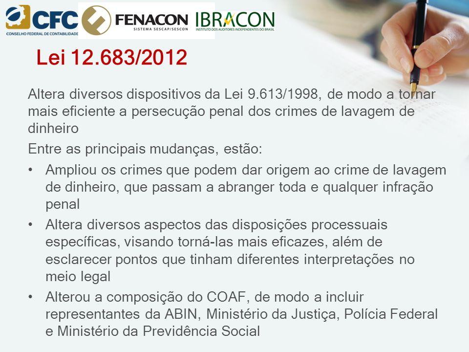 Lei 12.683/2012 Altera diversos dispositivos da Lei 9.613/1998, de modo a tornar mais eficiente a persecução penal dos crimes de lavagem de dinheiro E