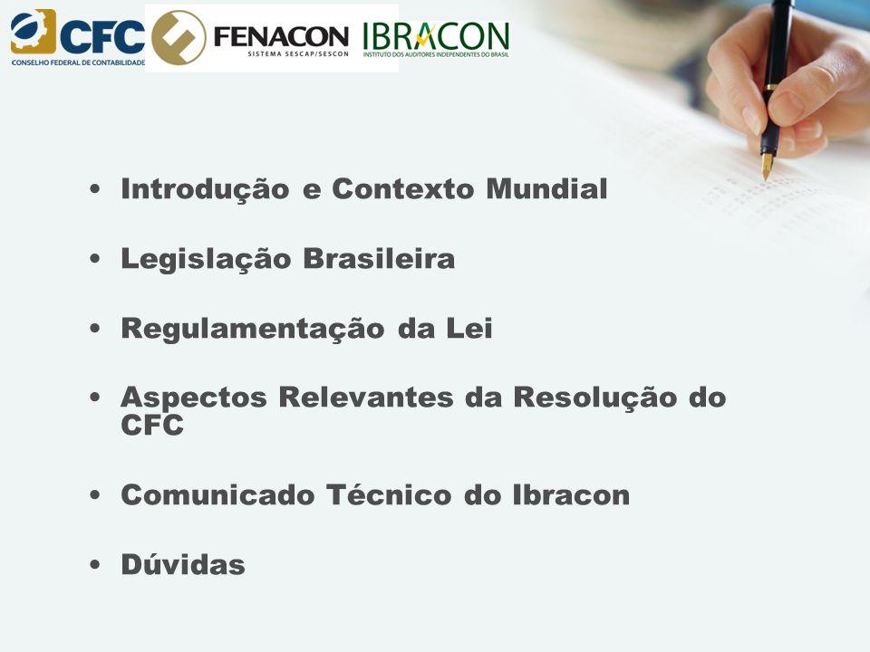 Introdução e Contexto Mundial Legislação Brasileira Regulamentação da Lei Aspectos Relevantes da Resolução do CFC Comunicado Técnico do Ibracon Dúvida