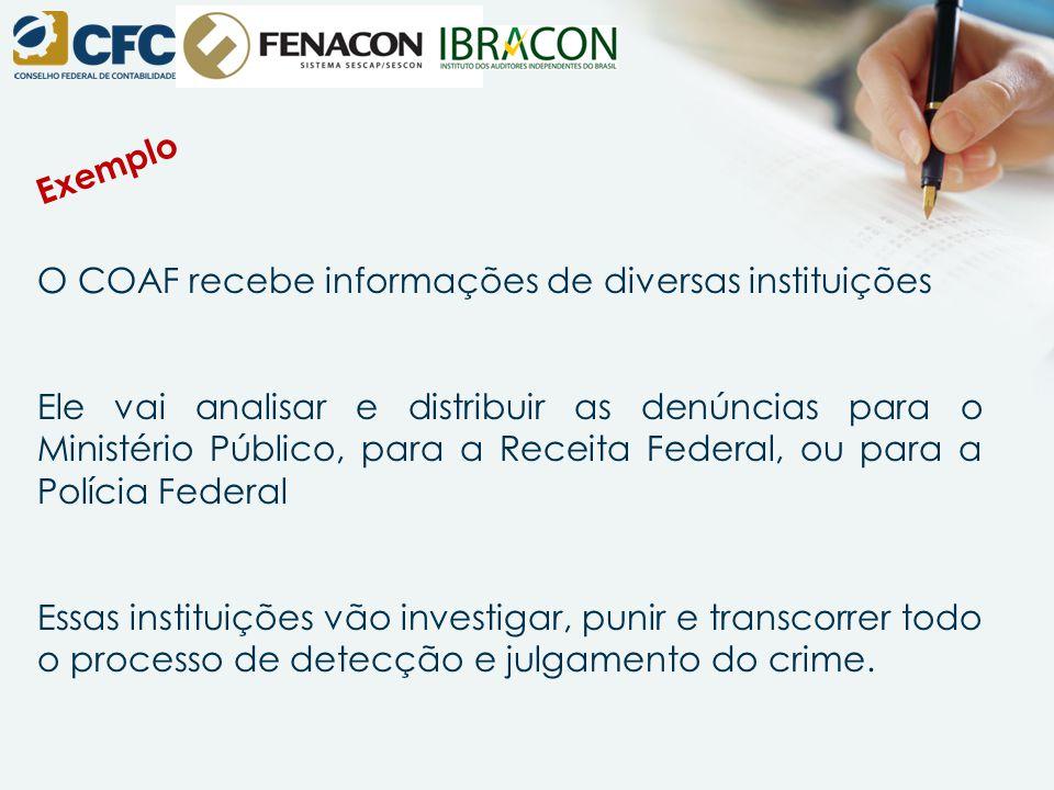 O COAF recebe informações de diversas instituições Ele vai analisar e distribuir as denúncias para o Ministério Público, para a Receita Federal, ou pa