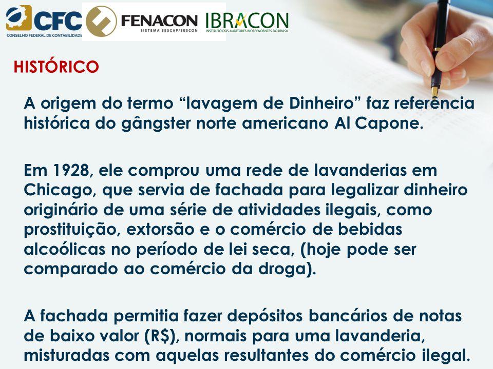 """HISTÓRICO A origem do termo """"lavagem de Dinheiro"""" faz referência histórica do gângster norte americano Al Capone. Em 1928, ele comprou uma rede de lav"""